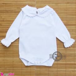 بلوز زیردکمه دار مجلسی یقه ب ب سفید Baby long sleeve bodysuits