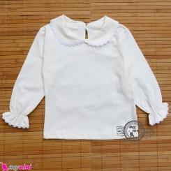 بلوز مجلسی پنبه ای یقه ب ب شیری Baby shirt