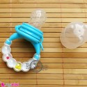 پستانک غذاخوری جغجغه ای آبی سفید Baby feeding pacifier