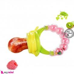 پستانک غذاخوری جغجغه ای سبز صورتی Baby feeding pacifier