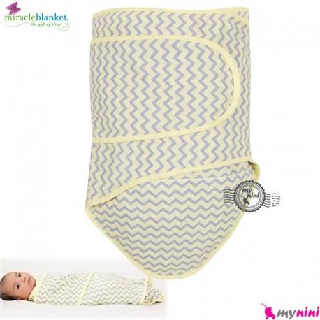 قنداق پنبه ای نوزاد میراکل لیمویی طوسی Miracle Blanket