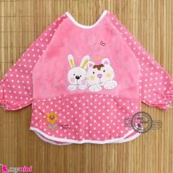 پیشبند لباسی مخمل ضدآب خرگوش و گربه رنگ مرجانی Baby long sleeve waterproof bib