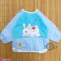 پیشبند لباسی مخمل ضدآب خرگوش و گربه آبی Baby long sleeve waterproof bib