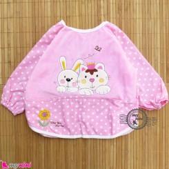 پیشبند لباسی مخمل ضدآب خرگوش و گربه صورتی Baby long sleeve waterproof bib