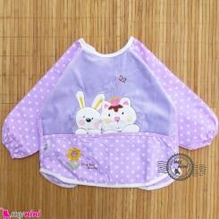 پیشبند لباسی مخمل ضدآب خرگوش و گربه یاسی Baby long sleeve waterproof bib