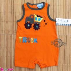 سرهمی شورتی کودک و نوزاد نارنجی کامیون کارترز Carter's baby rompers