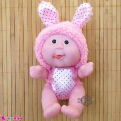 عروسک بامزه موزیکال و چراغدار خرگوش صورتی Baby cute doll