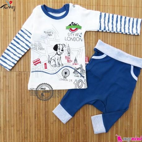 ست بلوز و شلوار فاق دار پنبه ای ترکیه طرح لندن Turkish baby shirt and pants