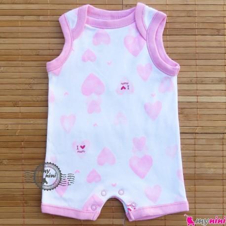 رامپرز پنبه ای نوزاد و کودک قلبی آی لاو مام BABY Rompers