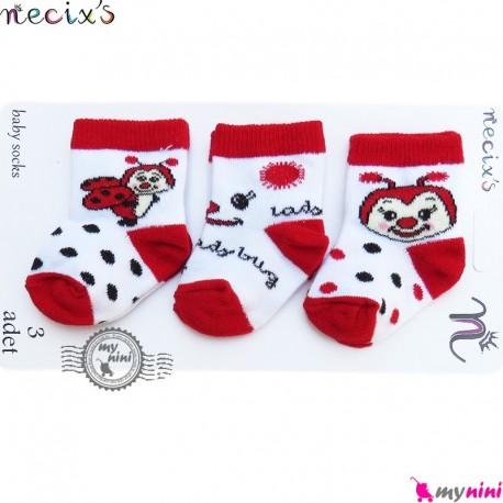 جوراب پنبه ای کفشدوزکی 3 عددی نسیکسِز ترکیه Necix's baby socks