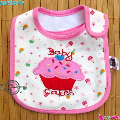 پیشبند کارترز 3 لایه نوزاد و کودک کاپ کیک Carters baby cute bib