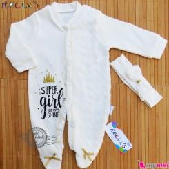 سرهمی مجلسی گیپوردار تِل دار نسیکسز ترکیه طلایی necix,s baby cotton overalls