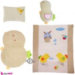 سرویس خواب مخمل 4 تکه نوزاد و کودک کِرِم جوجه Sleeping Set