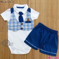 ست لباس پسرانه 2 تکه طرح جلیقه نسیکسز ترکیه آبی Necix's boy clothes set