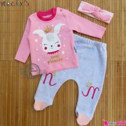 ست لباس پنبه ای 3 تکه نسیکسِز ترکیه صورتی خرگوش Necix's baby clothes set