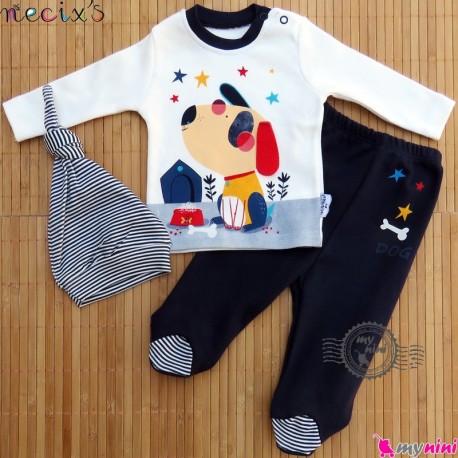 ست لباس پنبه ای 3 تکه کلاه دار نسیکسِز ترکیه سُرمه ای سگ Necix's baby clothes set