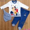 ست لباس پنبه ای 3 تکه کلاه دار نسیکسِز ترکیه آبی سگ Necix's baby clothes set