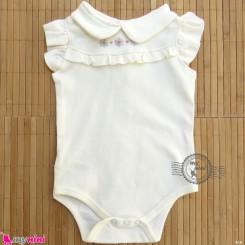 لباس زیردکمه دار پنبه ای مارک بِیبی کالِکشن رنگ شیری urb baby collection bodysuits