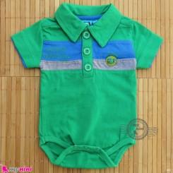 آستین کوتاه زیردکمه دار پنبه ای مارک گاگوتاگو سبز baby bodysuits