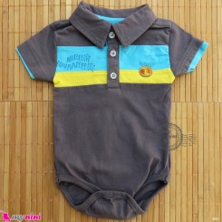 آستین کوتاه زیردکمه دار پنبه ای مارک گاگوتاگو طوسی baby bodysuits