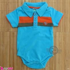 آستین کوتاه زیردکمه دار پنبه ای مارک گاگوتاگو آبی baby bodysuits