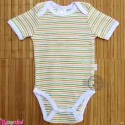آستین کوتاه زیردکمه دار پنبه ای مارک پاسبلو pusblu baby bodysuits