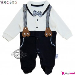 سرهمی پنبه ای کودک طرح بندی نسیکسز ترکیه سفید سُرمه ای necixs baby cotton overalls