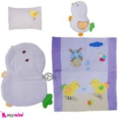 سرویس خواب مخمل 4 تکه نوزاد و کودک یاسی جوجه Sleeping Set