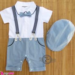 رامپرز کلاه دار بندی مارک بینگوبوم طرح لی آبی  Bingoboom BABY Rompers