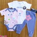 ست بادی و شلوار 3 تکه پنبه ای مارک ویکِند طرح گل Weekend baby bodysuits and pants set