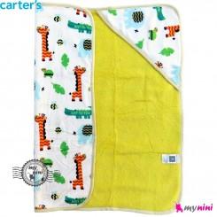 پتو کلاه دار کارترز زرافه و لاکپشت پرز زرد Carters baby hooded fleece blanket