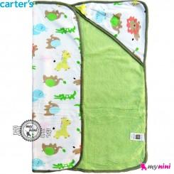 پتو کلاه دار کارترز شیر و فیل پرز سبز Carters baby hooded fleece blanket