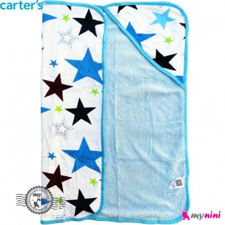 پتو کلاه دار کارترز ستاره پرز آبی Carters baby hooded fleece blanket