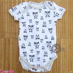 آستین کوتاه زیردکمه دار پنبه ای مارک هِما بدو تولد baby bodysuits