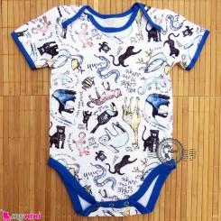 آستین کوتاه زیردکمه دار پنبه ای مارک بیسیک فور بِیبی 6 تا 9 ماه basic for baby bodysuits