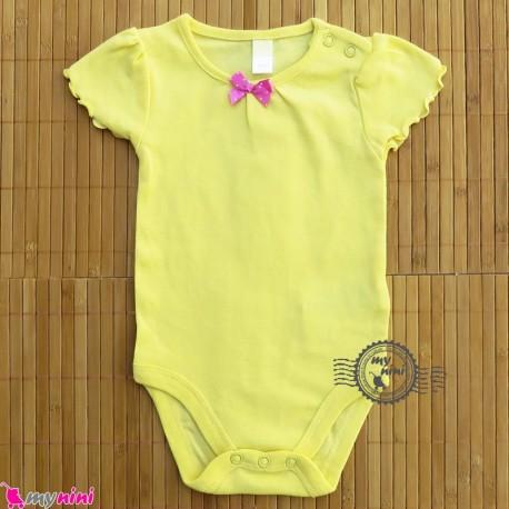 آستین کوتاه زیردکمه دار پنبه ای مارک کول کلاب لیمویی cool club baby bodysuits