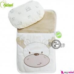 تشک بالش و قنداق نوزاد 2 کاره بِبِسی کِرِمی گوزن Turkish Bebessi baby mattress