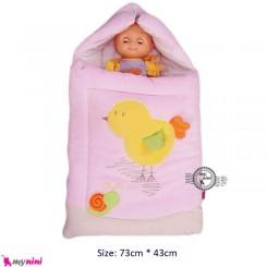 قنداق فرنگی مخمل صورتی جوجه Baby Sleeping Bag