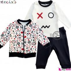 ست سویشرت بلوز شلوار نسیکسز ترکیه شکل هندسی سُرمه ای قرمز Turkish necixs baby clothes set