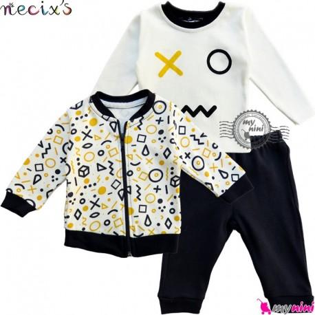 ست سویشرت بلوز شلوار نسیکسز ترکیه شکل هندسی سُرمه ای زرد Turkish necixs baby clothes set