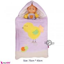 قنداق فرنگی مخمل یاسی جوجه Baby Sleeping Bag