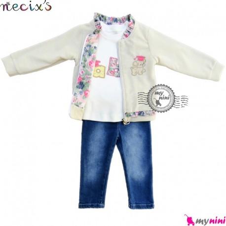ست لباس اسپرت نسیکسز ترکیه 3 تکه کِرِمی طلایی Turkish necixs girl clothes set
