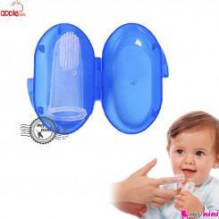 مسواک انگشتی قاب دار مارک اپل بی بی آبی Apple baby toothbrush