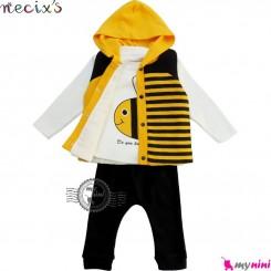 ست 3 تکه جلیقه گرم کلاهدار نسیکسز ترکیه طرح زنبور Turkish necixs baby clothes set