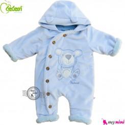 سرهمی کاپشنی کلاه دار مارک ببسی ترکیه آبی Bebessi warm baby overall