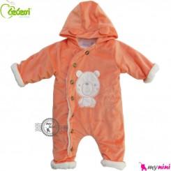 سرهمی کاپشنی کلاه دار مارک ببسی ترکیه نارنجی Bebessi warm baby overall