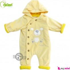 سرهمی کاپشنی کلاه دار مارک ببسی ترکیه زرد Bebessi warm baby overall
