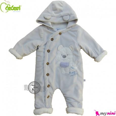 سرهمی کاپشنی کلاه دار مارک ببسی ترکیه طوسی Bebessi warm baby overall