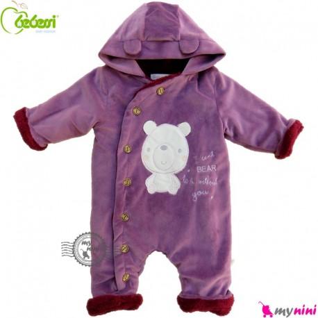 سرهمی کاپشنی کلاه دار مارک ببسی ترکیه بنفش Bebessi warm baby overall