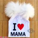 کلاه کشی پوم پوم آی لاو ماما سفید I Love mama baby poom poom hat